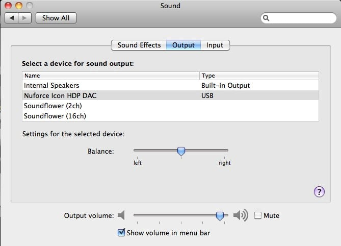 Sound calibration settings tab